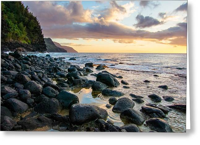 Hawai Greeting Cards - Na Pali Sunset Greeting Card by Adam Pender