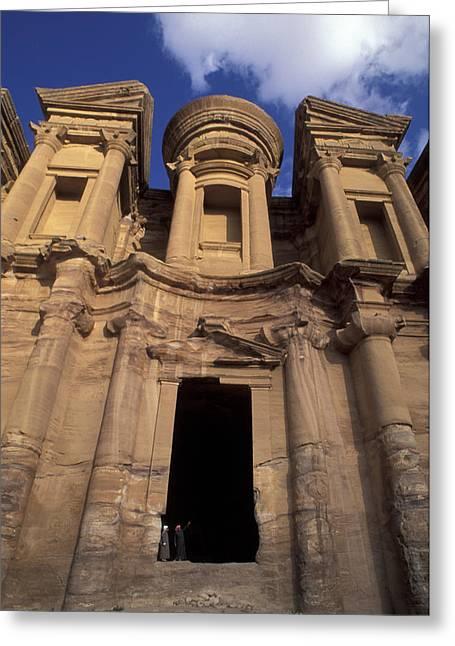 Petra - Jordan Greeting Cards - Nabataean Traders Stand In The Doorway Greeting Card by Richard Nowitz