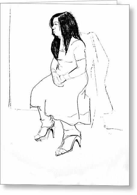 Pensive Drawings Greeting Cards - Nadia Greeting Card by Joanne Claxton