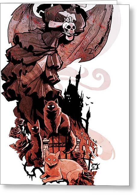 Gothic Greeting Cards - Nadjas flight Greeting Card by Brian Kesinger