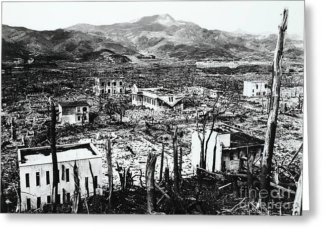 Atomic Bomb Greeting Cards - Nagasaki, Japan Greeting Card by Photo Researchers