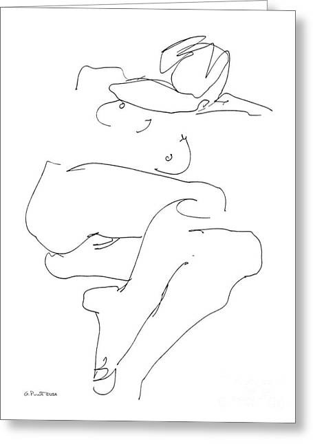 Figure Drawing Greeting Cards - Naked-Female-Art-21 Greeting Card by Gordon Punt