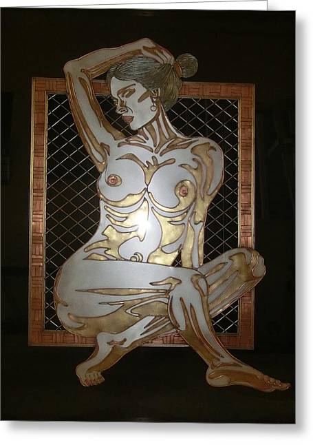 Nude Sculpture Sculptures Greeting Cards - NAKED in the BORDER Greeting Card by Edmundo De Guzman
