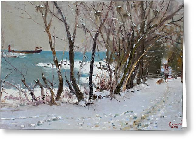 Dog In Snow Greeting Cards - Naked Trees by the Lake Shore Greeting Card by Ylli Haruni
