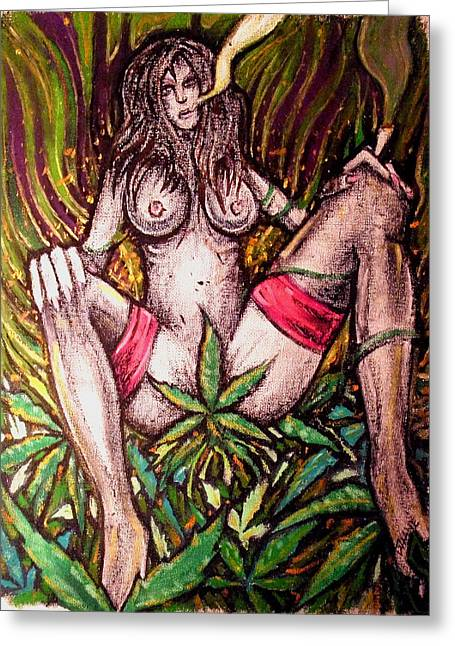 Weed Pastels Greeting Cards - Naked With Green And A Hit Of Pink Greeting Card by Sam Hane