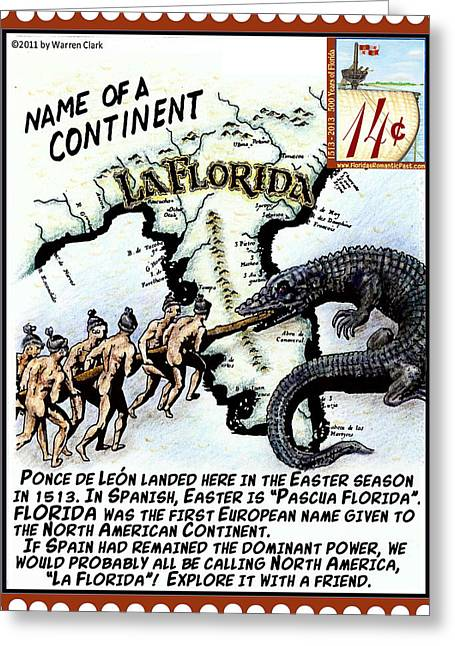 Florida Gators Mixed Media Greeting Cards - Name of a Continent Greeting Card by Warren Clark