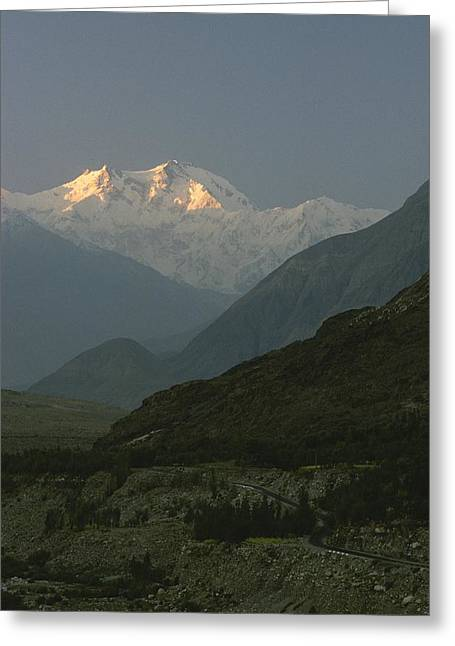 Light And Dark Greeting Cards - Nanga Parbat At Sunrise Greeting Card by George F. Mobley