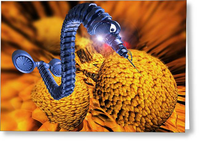 Micromechanics Greeting Cards - Nanorobot Attacking Cancer Cell Greeting Card by Victor Habbick Visions