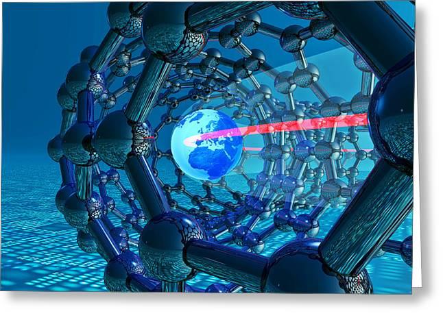 Macromolecule Greeting Cards - Nanotube Technology, Conceptual Artwork Greeting Card by Laguna Design
