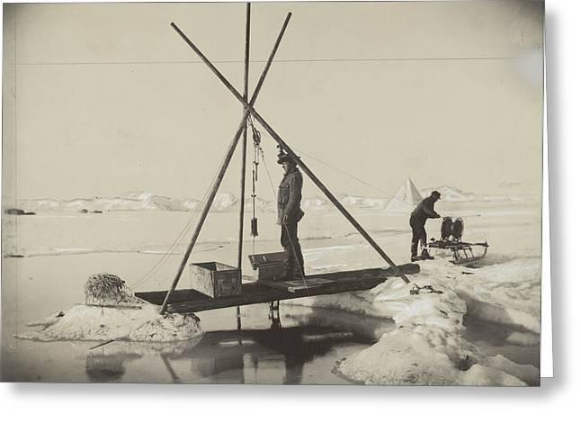 Nansen Greeting Cards - Nansen Takes A Reading Of Deep Arctic Greeting Card by Fridtjof Nansen