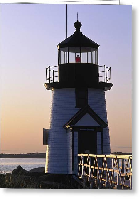 Brant Point Greeting Cards - Nantucket Brant Point Lighthouse Greeting Card by Axiom Photographic