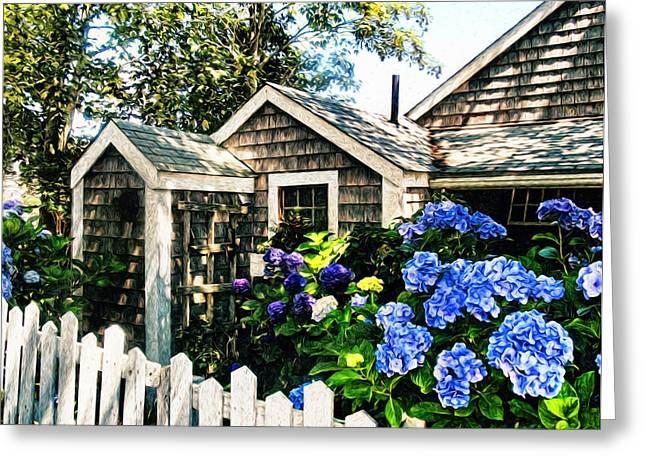 Cod Digital Art Greeting Cards - Nantucket Cottage No.1 Greeting Card by Tammy Wetzel