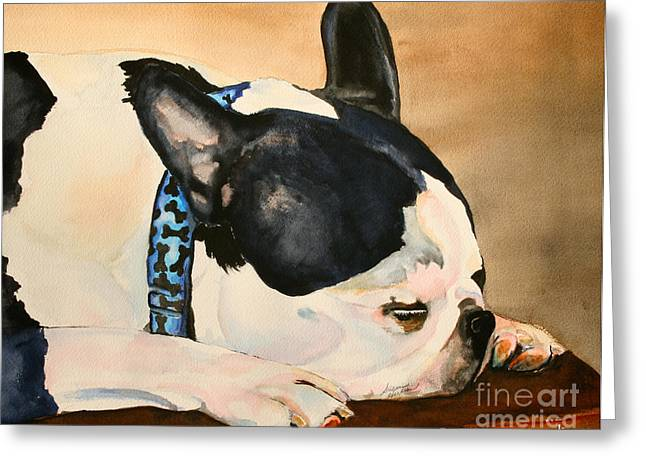 Boston Terrier Watercolor Greeting Cards - Nap Greeting Card by Susan Herber