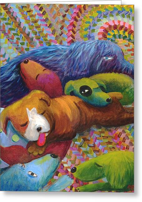 Braided Rugs Greeting Cards - Nap Time Greeting Card by Nancy Rodger