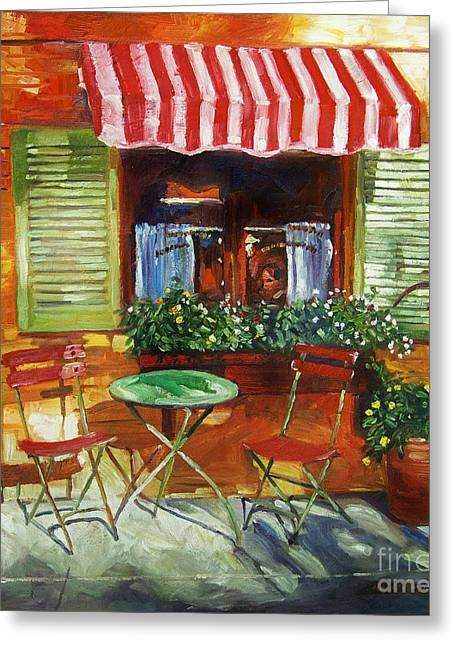 Patio Greeting Cards - Napa Bistro Greeting Card by David Lloyd Glover