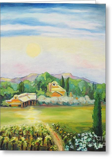 Napa Moon Greeting Card by Barbara Anna Knauf