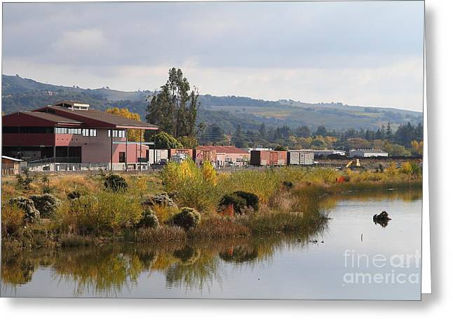 Napa River In Napa California Wine Country Greeting Card by Wingsdomain Art and Photography