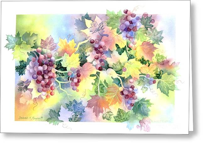 Grape Leaf Greeting Cards - Napa Valley Morning Greeting Card by Deborah Ronglien