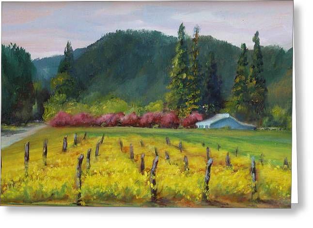 Calistoga Paintings Greeting Cards - Napa Valley Mustards on Silverado Trail Greeting Card by Deirdre Shibano