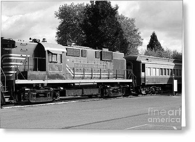 Napa Valley Railroad Wine Train Locomotive In Napa California Wine Country . Black And White . 7d899 Greeting Card by Wingsdomain Art and Photography