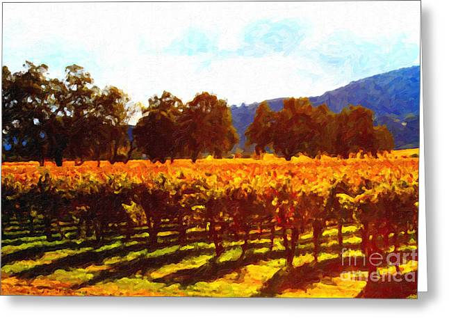 Napa Valley Digital Greeting Cards - Napa Valley Vineyard in Autumn Colors 2 Greeting Card by Wingsdomain Art and Photography