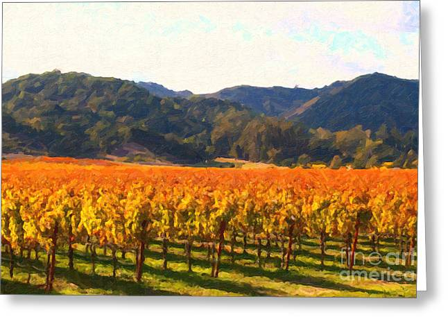 Napa Valley Digital Greeting Cards - Napa Valley Vineyard in Autumn Colors Greeting Card by Wingsdomain Art and Photography