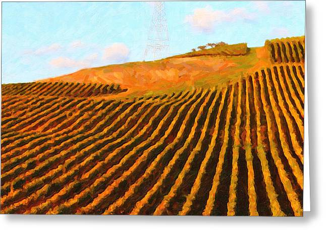 Napa Valley Vineyard . Portrait Cut Greeting Card by Wingsdomain Art and Photography