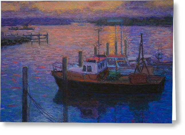Fishing Boats Pastels Greeting Cards - Napier Sunset Greeting Card by Terry Perham