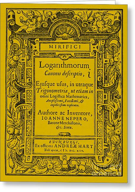 Napiers Treatise On Logarithms Greeting Card by Photo Researchers