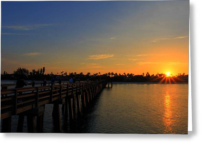 Paradise Pier Attraction Greeting Cards - Naples Pier Sunrise Greeting Card by Sean Allen