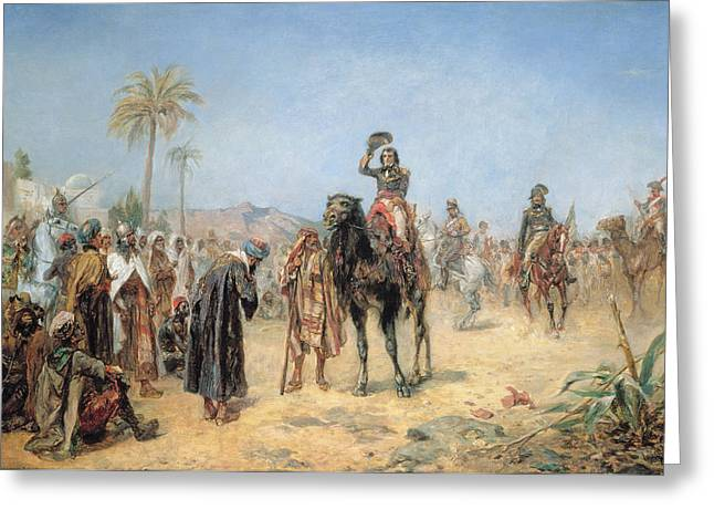 Dromedary Greeting Cards - Napoleon Arriving at an Egyptian Oasis Greeting Card by Robert Alexander Hillingford