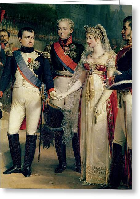 Queen Greeting Cards - Napoleon Bonaparte Receiving Queen Louisa of Prussia Greeting Card by Nicolas Louis Francois Gosse