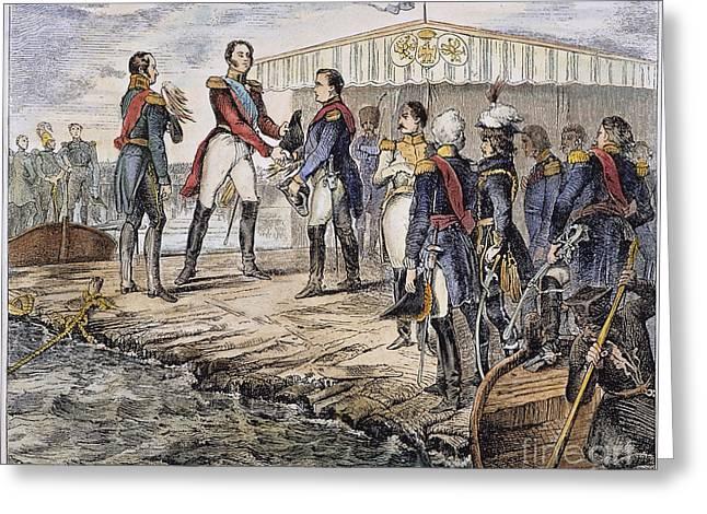 Tsar Alexander Greeting Cards - Napoleon I At Tilsit, 1807 Greeting Card by Granger
