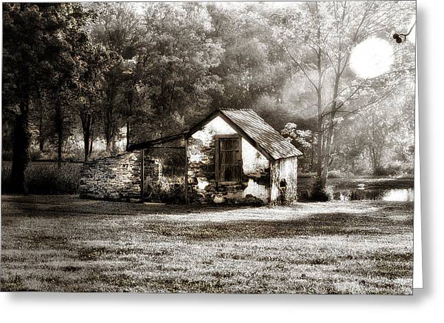 Dew Digital Art Greeting Cards - Narcissa Road Springhouse Greeting Card by Bill Cannon