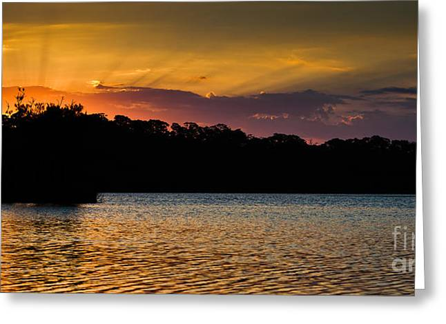 Narrabeen Sunset With Lenticular Rays Greeting Card by John Buxton