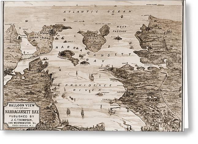 New England Ocean Greeting Cards - NARRAGANSETT BAY, c1880 Greeting Card by Granger