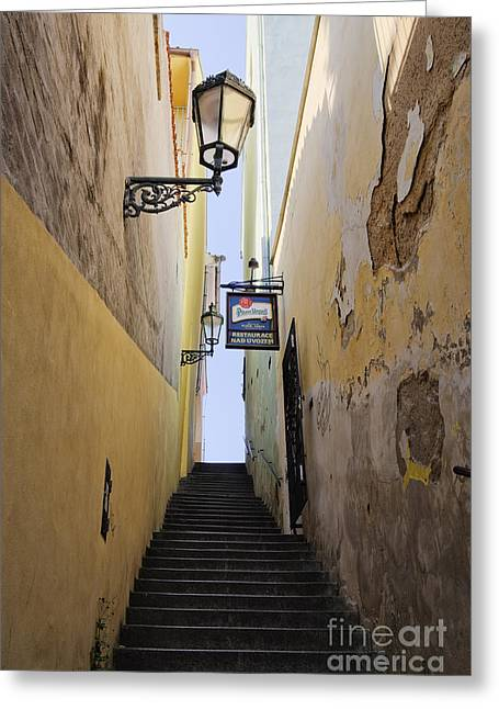 Alley Stairs Greeting Cards - Narrow Alley Stairwell Greeting Card by Jeremy Woodhouse