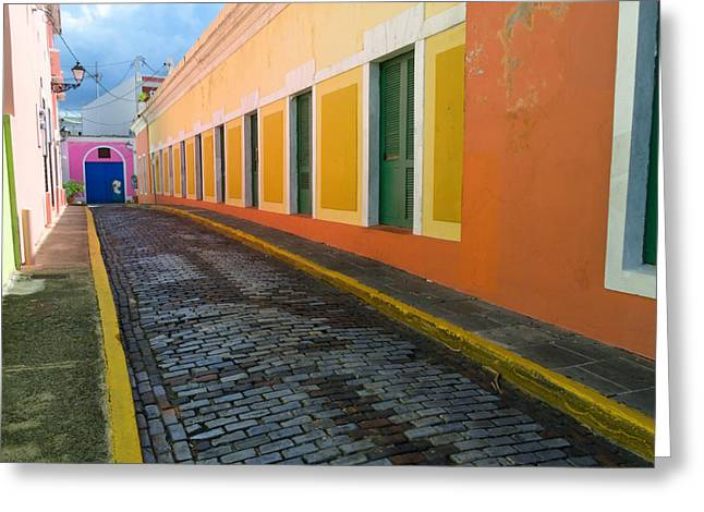Old San Juan Greeting Cards - Narrow Cobblestone Street in Old San Juan Puerto Rico Greeting Card by George Oze