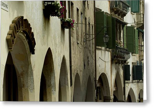 Narrow Road Lined By Shuttered Windows Greeting Card by Todd Gipstein