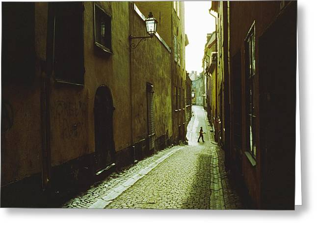 Streetlight Greeting Cards - Narrow Street In Stockholm Greeting Card by Cotton Coulson