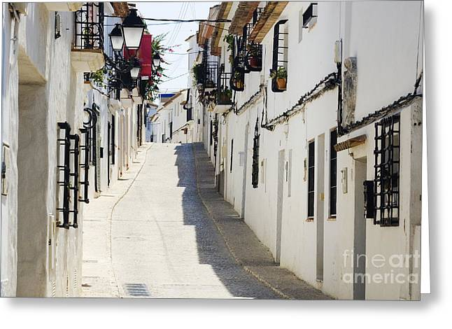 Costa Blanca Greeting Cards - Narrow Street in White Town of Altea Greeting Card by Jeremy Woodhouse
