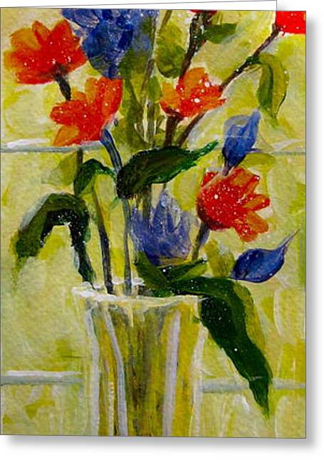 Glass Vase Greeting Cards - Narrow Window Flowers Greeting Card by Gretchen Allen