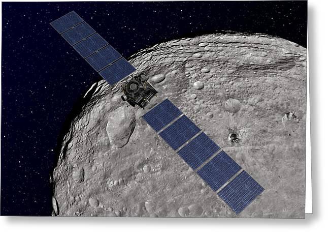 Analyze Greeting Cards - Nasas Dawn Spacecraft Orbiting Greeting Card by Stocktrek Images