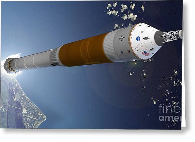 21st Greeting Cards - Nasas Future Manned Launcher Greeting Card by NASA / Science Source