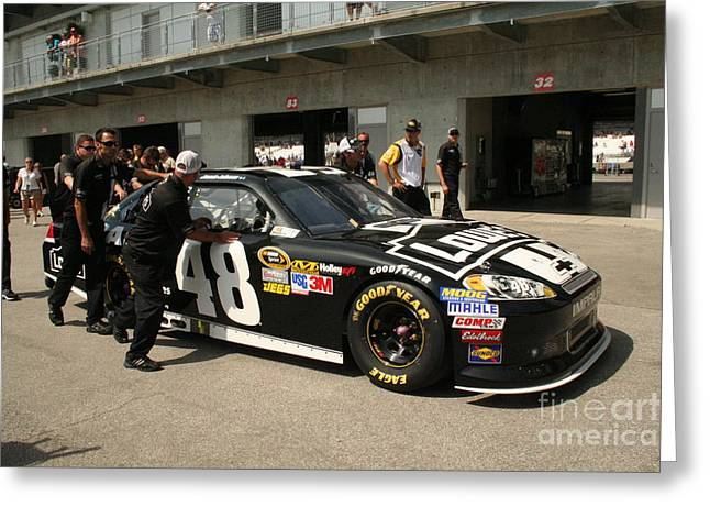 Jimmie Johnson Greeting Cards - Nascar Inspection 43 Greeting Card by Roger Look