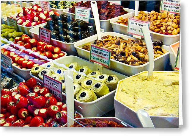 Deli Greeting Cards - Naschmarkt Delight Greeting Card by David Waldo
