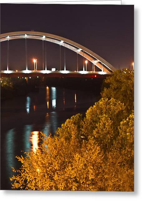 Tennessee River Greeting Cards - Nashville Bridge by Night 2 Greeting Card by Douglas Barnett