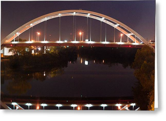 Tennessee River Greeting Cards - Nashville Bridge by Night 3 Greeting Card by Douglas Barnett