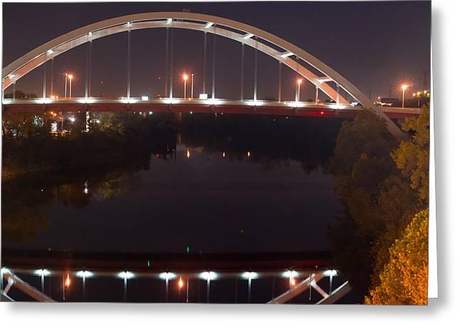 Tennessee River Greeting Cards - Nashville Bridge by Night 5 Greeting Card by Douglas Barnett