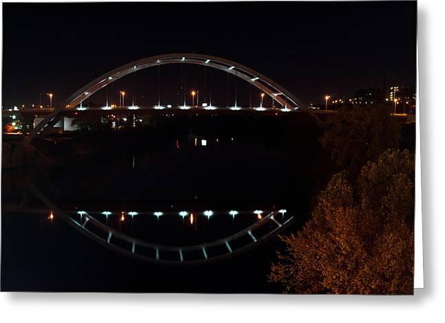 Tennessee River Greeting Cards - Nashville Bridge by Night 6 Greeting Card by Douglas Barnett